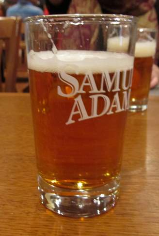 Sam Adams beer in tasting glass